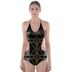 Simple Art Deco Style Art Pattern Cut Out One Piece Swimsuit