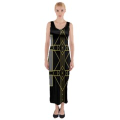 Simple Art Deco Style Art Pattern Fitted Maxi Dress