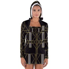 Simple Art Deco Style Art Pattern Women s Long Sleeve Hooded T-shirt