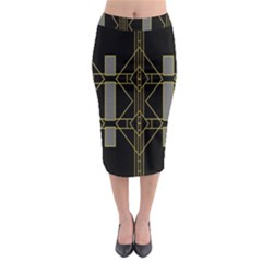 Simple Art Deco Style Art Pattern Midi Pencil Skirt