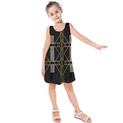 Simple Art Deco Style Art Pattern Kids  Sleeveless Dress