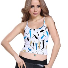 Abstract Image Image Of Multiple Colors Spaghetti Strap Bra Top