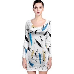 Abstract Image Image Of Multiple Colors Long Sleeve Bodycon Dress