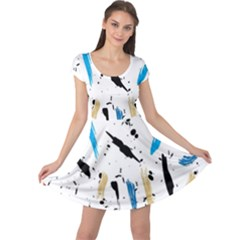Abstract Image Image Of Multiple Colors Cap Sleeve Dresses