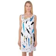 Abstract Image Image Of Multiple Colors Sleeveless Satin Nightdress