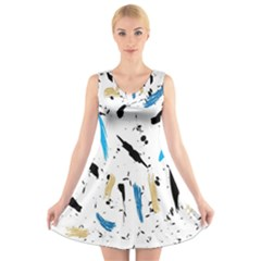 Abstract Image Image Of Multiple Colors V Neck Sleeveless Skater Dress