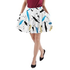 Abstract Image Image Of Multiple Colors A-Line Pocket Skirt