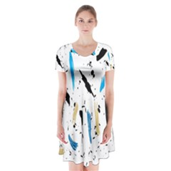 Abstract Image Image Of Multiple Colors Short Sleeve V-neck Flare Dress