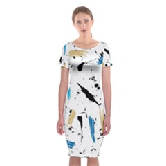 Abstract Image Image Of Multiple Colors Classic Short Sleeve Midi Dress