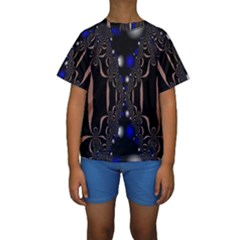 An Interesting Mix Of Blue And Other Colours Balls Kids  Short Sleeve Swimwear