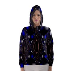 An Interesting Mix Of Blue And Other Colours Balls Hooded Wind Breaker (Women)