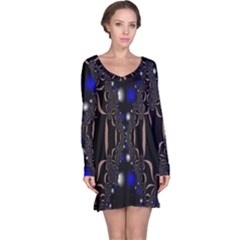 An Interesting Mix Of Blue And Other Colours Balls Long Sleeve Nightdress