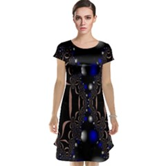 An Interesting Mix Of Blue And Other Colours Balls Cap Sleeve Nightdress