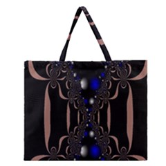 An Interesting Mix Of Blue And Other Colours Balls Zipper Large Tote Bag