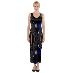 An Interesting Mix Of Blue And Other Colours Balls Fitted Maxi Dress