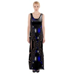 An Interesting Mix Of Blue And Other Colours Balls Maxi Thigh Split Dress