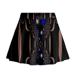 An Interesting Mix Of Blue And Other Colours Balls Mini Flare Skirt