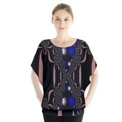 An Interesting Mix Of Blue And Other Colours Balls Blouse