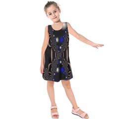 An Interesting Mix Of Blue And Other Colours Balls Kids  Sleeveless Dress