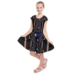 An Interesting Mix Of Blue And Other Colours Balls Kids  Short Sleeve Dress