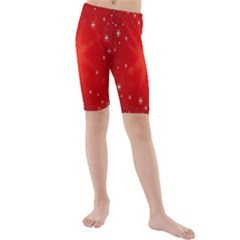 Red Holiday Background Red Abstract With Star Kids  Mid Length Swim Shorts