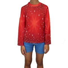 Red Holiday Background Red Abstract With Star Kids  Long Sleeve Swimwear