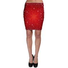 Red Holiday Background Red Abstract With Star Bodycon Skirt