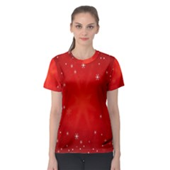 Red Holiday Background Red Abstract With Star Women s Sport Mesh Tee