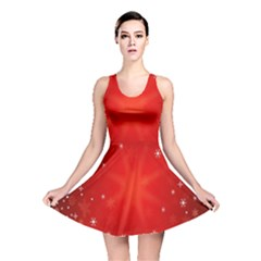 Red Holiday Background Red Abstract With Star Reversible Skater Dress