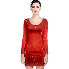 Red Holiday Background Red Abstract With Star Long Sleeve Bodycon Dress