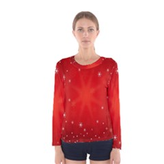 Red Holiday Background Red Abstract With Star Women s Long Sleeve Tee