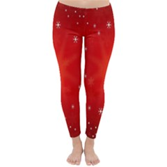 Red Holiday Background Red Abstract With Star Classic Winter Leggings