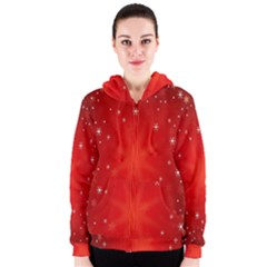 Red Holiday Background Red Abstract With Star Women s Zipper Hoodie