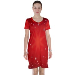 Red Holiday Background Red Abstract With Star Short Sleeve Nightdress