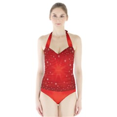 Red Holiday Background Red Abstract With Star Halter Swimsuit