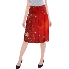 Red Holiday Background Red Abstract With Star Midi Beach Skirt