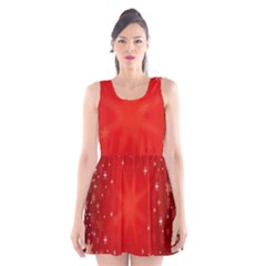 Red Holiday Background Red Abstract With Star Scoop Neck Skater Dress