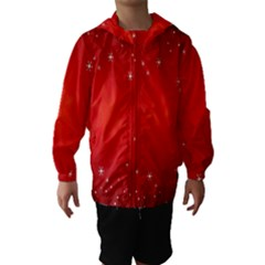 Red Holiday Background Red Abstract With Star Hooded Wind Breaker (kids)