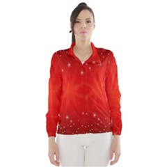 Red Holiday Background Red Abstract With Star Wind Breaker (Women)