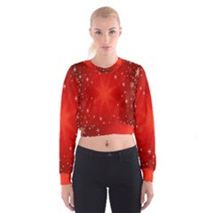 Red Holiday Background Red Abstract With Star Women s Cropped Sweatshirt