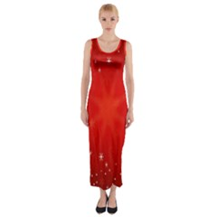Red Holiday Background Red Abstract With Star Fitted Maxi Dress