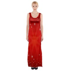Red Holiday Background Red Abstract With Star Maxi Thigh Split Dress