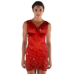 Red Holiday Background Red Abstract With Star Wrap Front Bodycon Dress