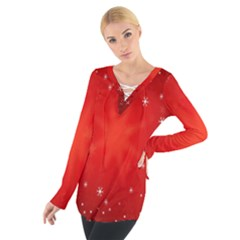 Red Holiday Background Red Abstract With Star Women s Tie Up Tee