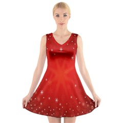 Red Holiday Background Red Abstract With Star V Neck Sleeveless Skater Dress