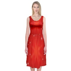 Red Holiday Background Red Abstract With Star Midi Sleeveless Dress