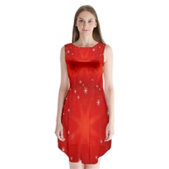 Red Holiday Background Red Abstract With Star Sleeveless Chiffon Dress