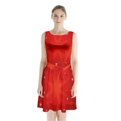 Red Holiday Background Red Abstract With Star Sleeveless Chiffon Waist Tie Dress