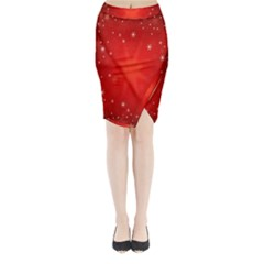 Red Holiday Background Red Abstract With Star Midi Wrap Pencil Skirt