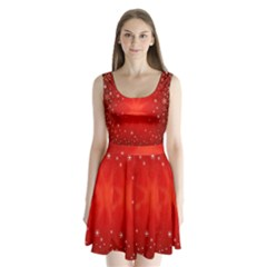 Red Holiday Background Red Abstract With Star Split Back Mini Dress